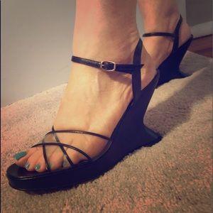 Ferragamo Black Heels Deco Style VINTAGE